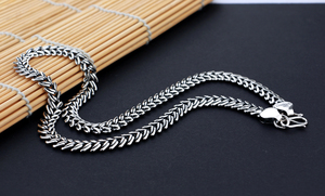 Image 4 - Mens 925 Thai Silver Necklaces Vintage Style Snake Chain Design 66cm Size Solid Silver Jewelry Party Accessories Birthday Gift