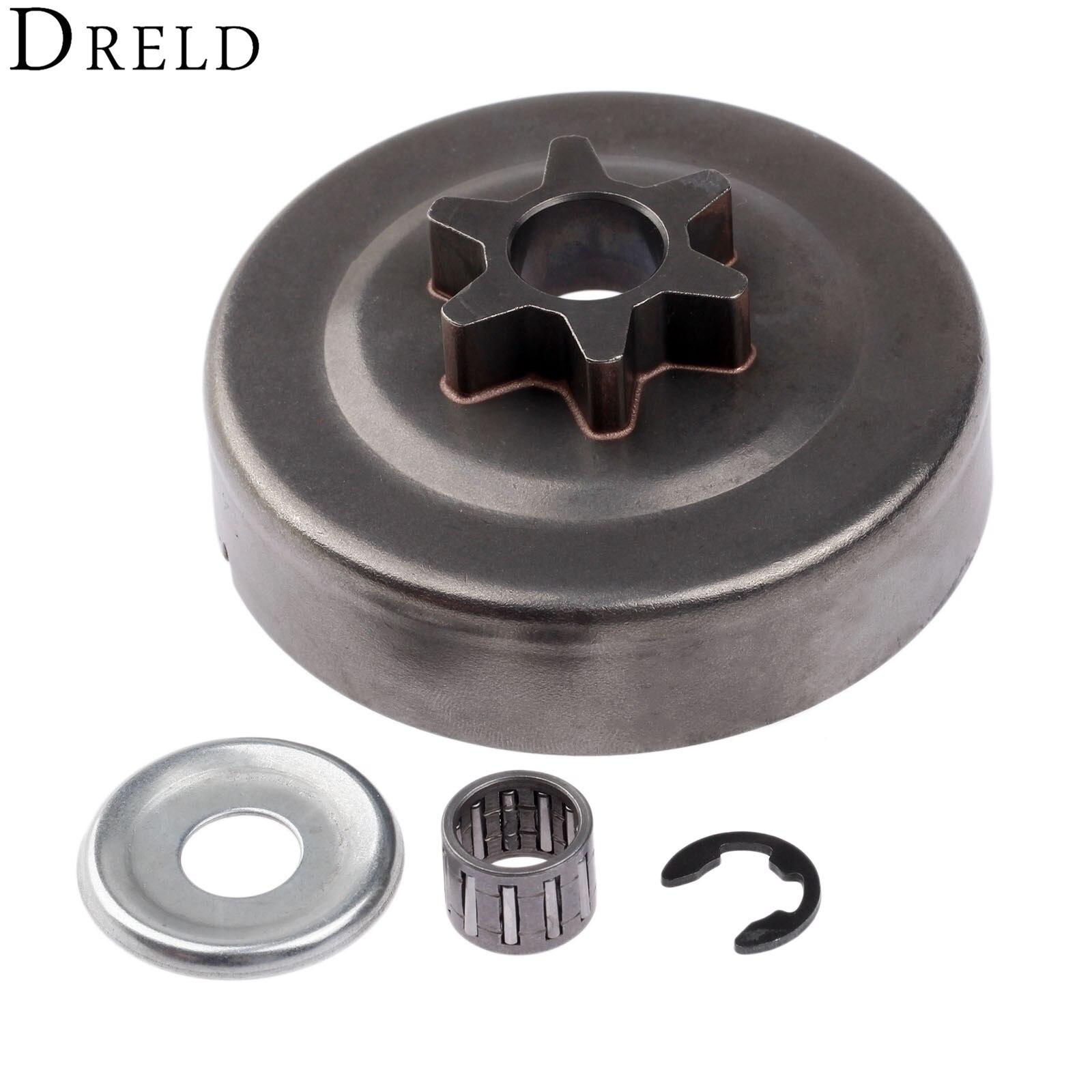 DRELD 3/8 6 T Kupplungsglocke Kettenrad Washer E-Clip Kit Für STIHL kettensäge 017 018 021 023 025 MS170 MS180 MS210 MS230 MS250 1123