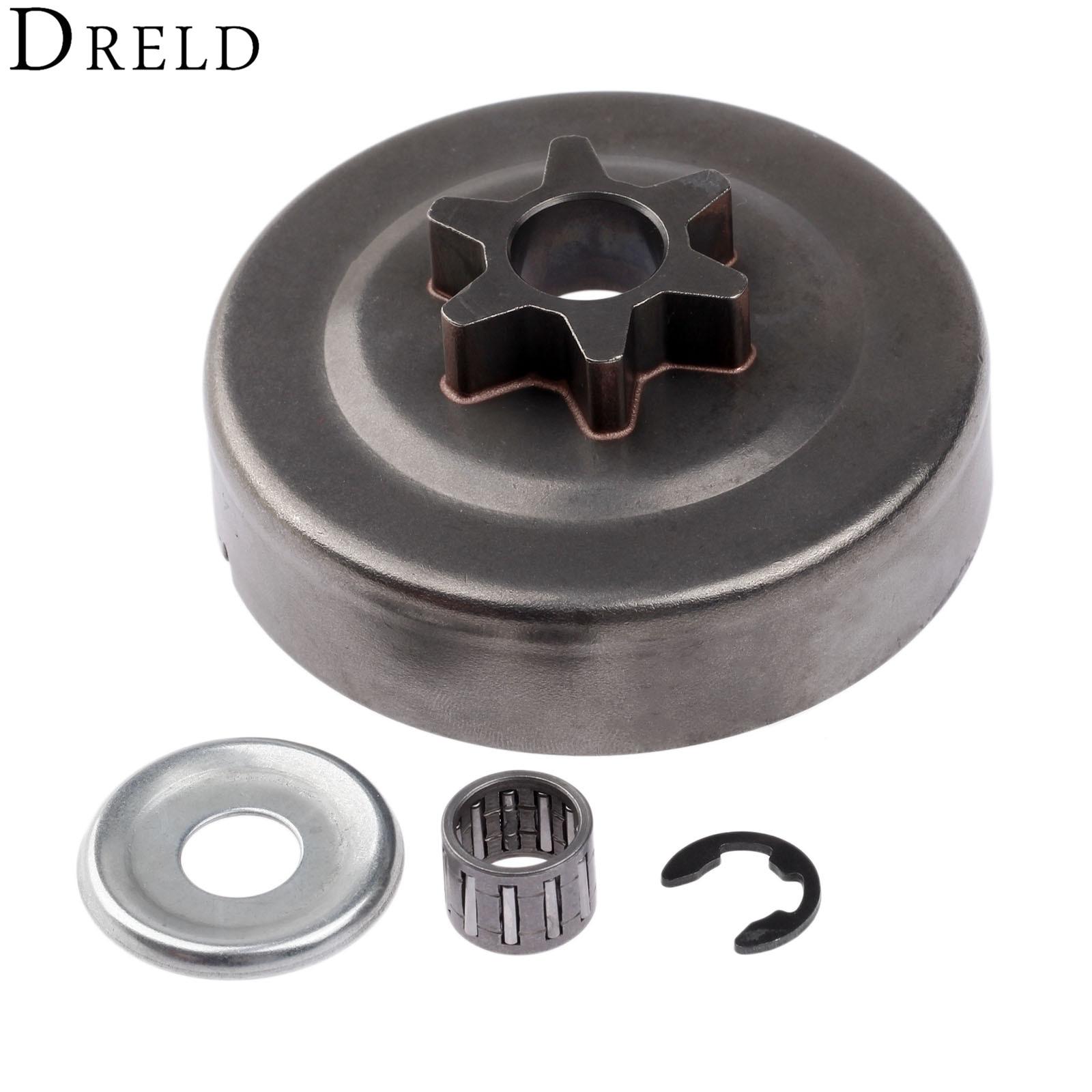 DRELD 3/8 6 t Kupplung Trommel Kettenrad Washer E-Clip Kit Für STIHL Kettensäge 017 018 021 023 025 MS170 MS180 MS210 MS230 MS250 1123