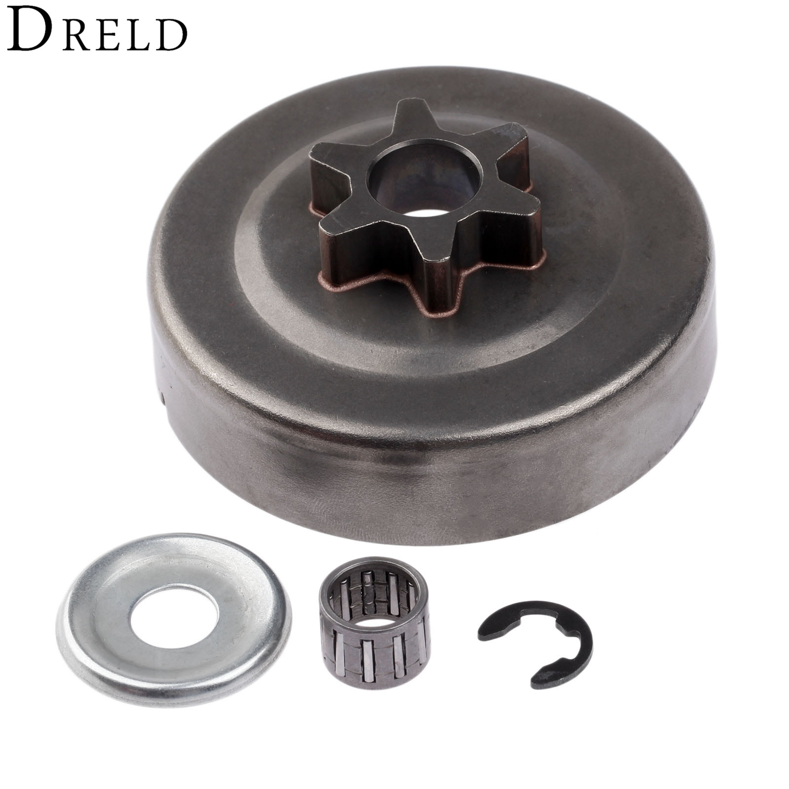 DRELD 3/8 6T Clutch Drum Sprocket Washer E-Clip Kit For STIHL Chainsaw 017 018 021 023 025 MS170 MS180 MS210 MS230 MS250 1123 chainsaw starter handle grip pawl set with spring washer fit stihl 017 018 021 023 025 ms180 ms250 parts