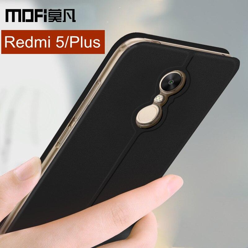Xiaomi Redmi 5 Plus cas couverture Redmi 5 cas flip couverture en cuir silicone plein protéger shockpoof coque MOFi Redmi5 Plus cas