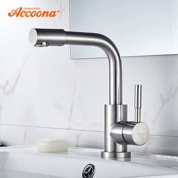 Accoona Basin Faucet Stainless steel 304 Right Angle Basin Faucets Mixers Sink Tap Wall Faucet Modern Hot and Cold Water A9690-2 1