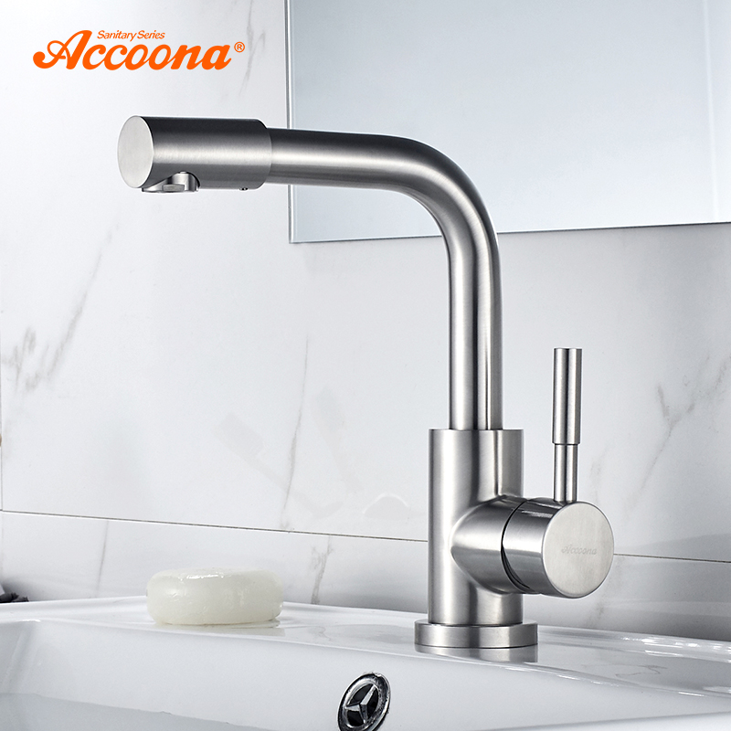 цена на Accoona Basin Faucet Stainless steel 304 Right Angle Basin Faucets Mixers Sink Tap Wall Faucet Modern Hot and Cold Water A9690-2