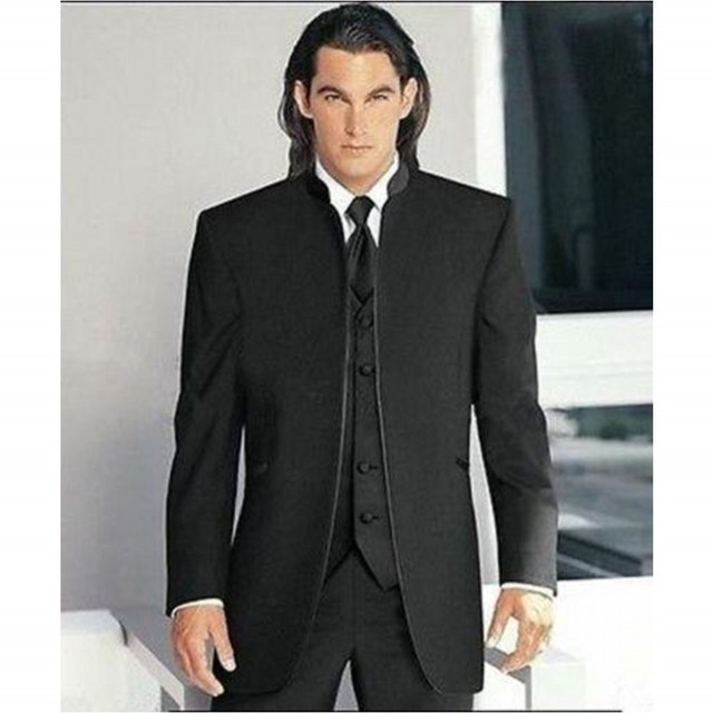 Free Shipping Gentleman Black Tie Suit Men Suits Three Piece Suit