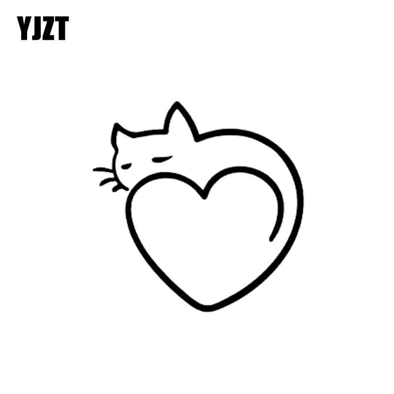 YJZT 11.5CM*11.5CM Heart Art Cat Car Stickers Vinyl Decal Black Silver C10-02403