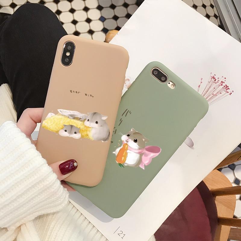 Tidur Hamster Penutup Ponsel Case untuk I PHONE X XS 10 Case untuk iPhone 6 6S 7 7 Plus Fashion lembut TPU Kembali Cover Lovely Kartun Kasus