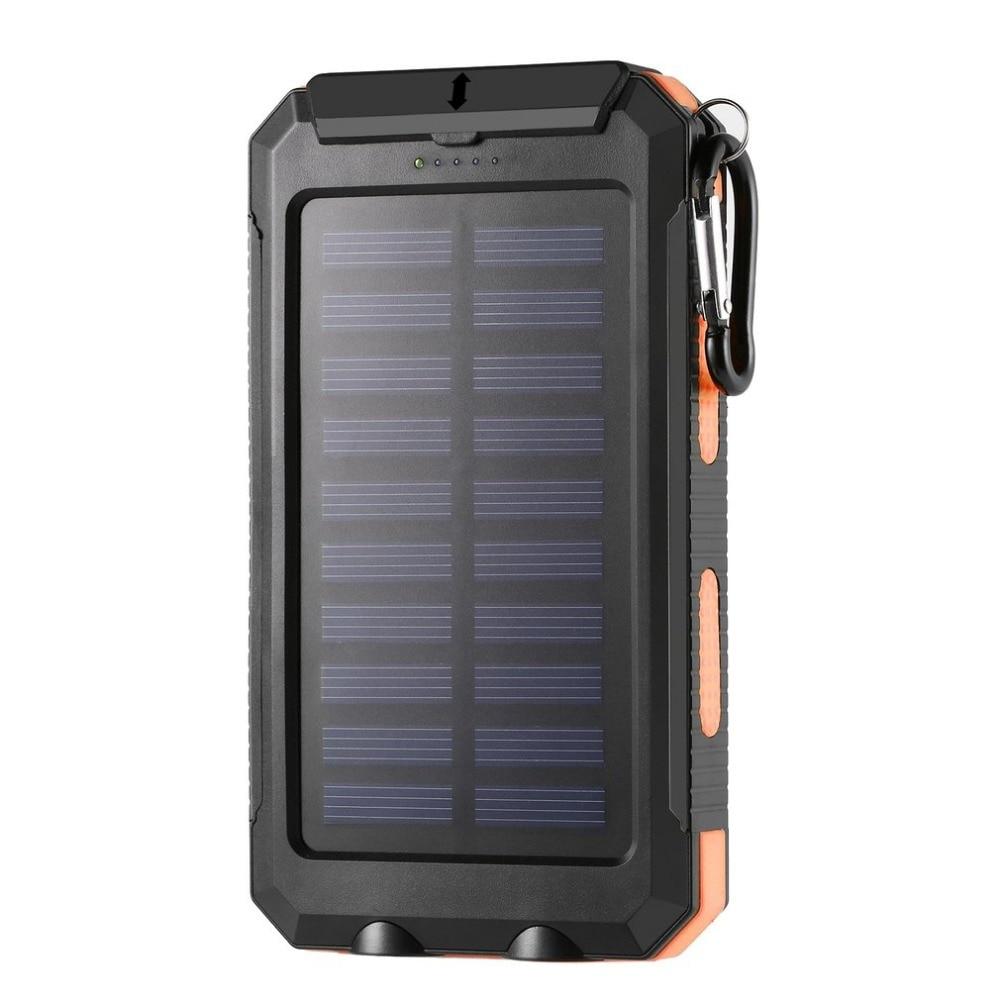 imágenes para Banco de la energía 10000 mAh Portable USB Dual Impermeable Potente Luz LED Solar Power Bank Cargador de Batería Externo Poverbank