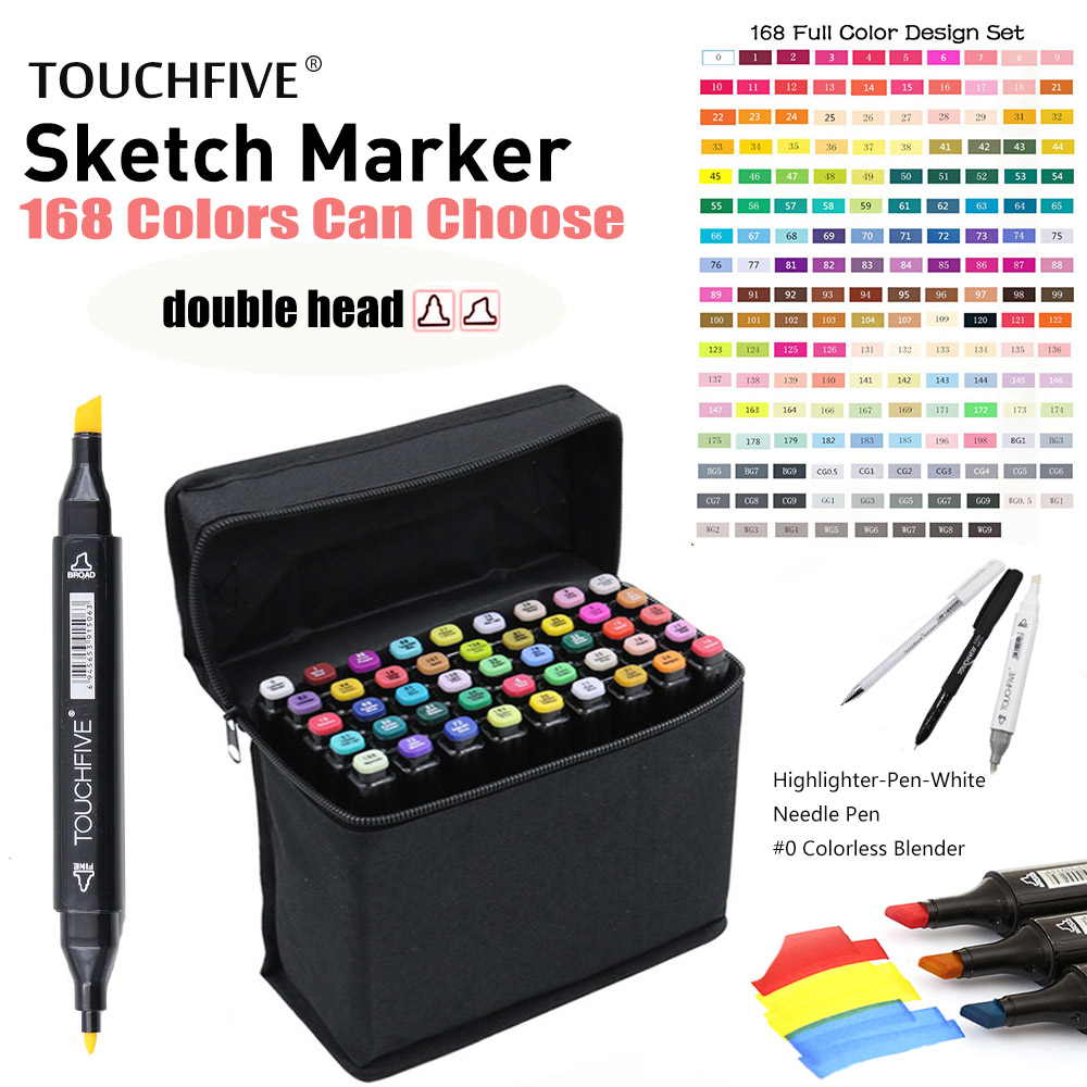 TouchFIVE 30/40/60/80/168 Color Drawing Brush Pen Oily Alcohol Based Art Markers Set Dual Tip Sketch Markers for Animation Manga touchfive 60 80 168 color art markers set oil alcohol based drawing artist sketch markers pen for animation manga art supplies