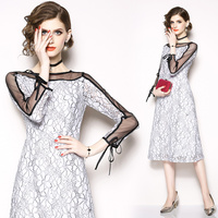 Early autumn Europe will spot the new paragraph temperament grows in white lace long sleeve dress