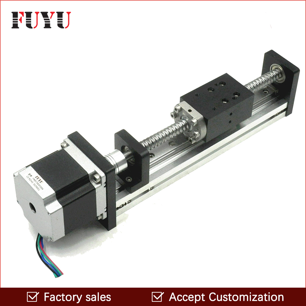 Free shipping 100mm stroke cnc motorized linear ball screw guide rail stepper motor stage linear module for X Y Z diy router free shipping factory sale ball screw linear guide rail xyz motorized stage table robotic arm z axis 300mm with motor