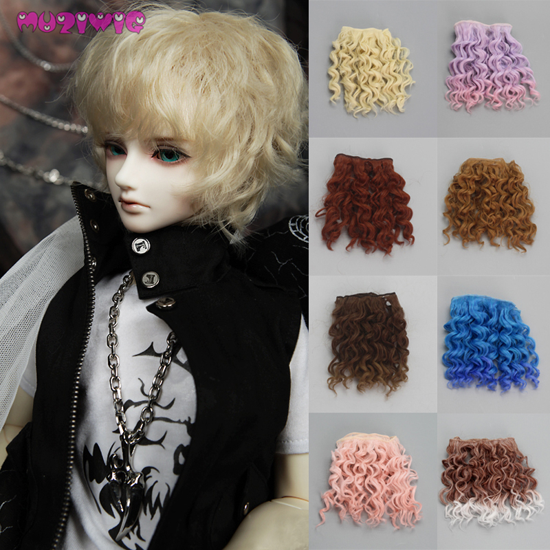Muzi Wigs  Curly Doll Wigs High Quality 15 Cm High Temperature Heat Resistant Doll Hair For 1/3 1/4 1/6 BJD Diy Doll Accessories