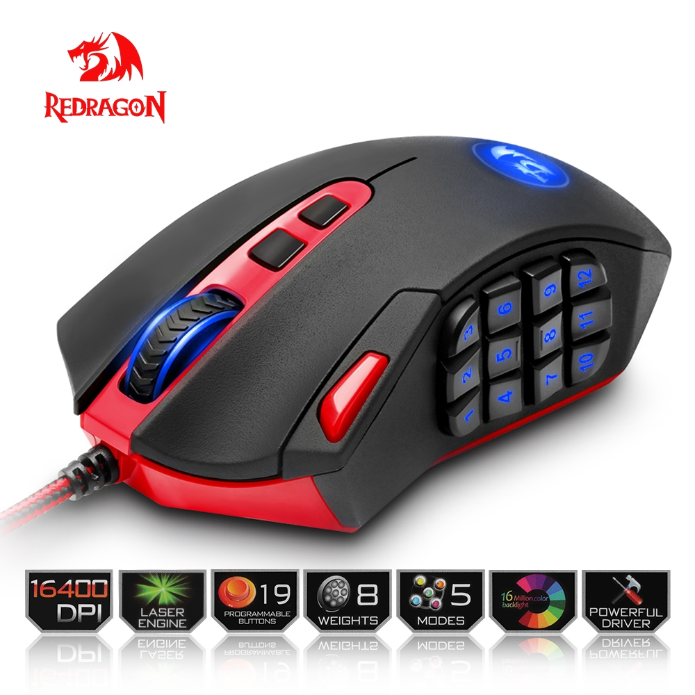 Redragon USB Gaming Mouse 16400 DPI 19 buttons ergonomic design for desktop computer accessories programmable mouse gamer lol PC gaming usb wired mouse zelotes c 12 programmable buttons led optical usb gaming mouse mice 4000 dpi souris sans fil