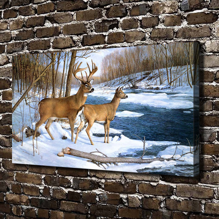 Buy a0291 snow forest natural scenery for Deer scenery