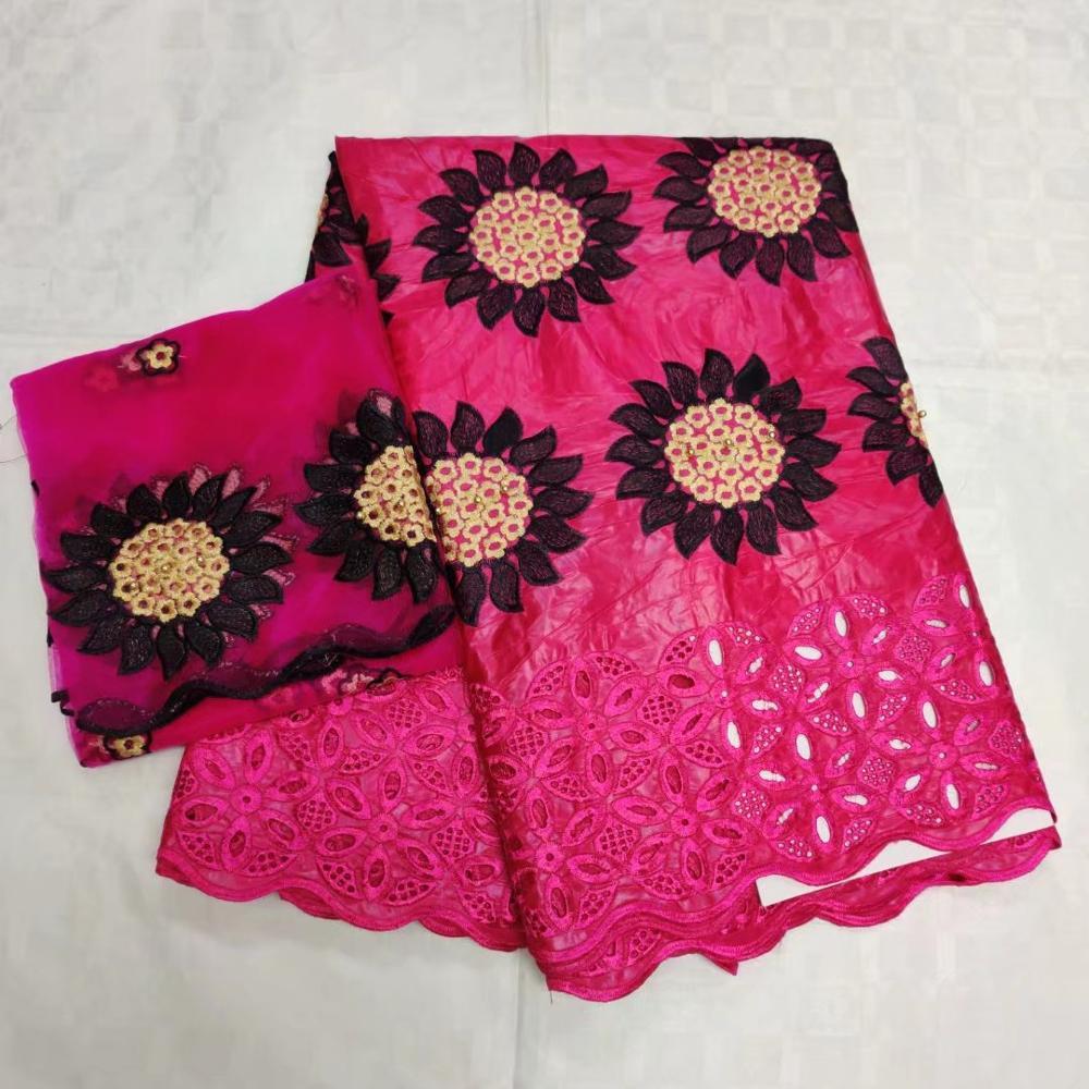 Niesamowite ostatnie afryki Buazin riche koronka z kamieniami tkaniny z szalik dla nigeryjskich suknie wieczorowe 5 + 2yds/szt GZ1828 różowy w Koronka od Dom i ogród na  Grupa 1