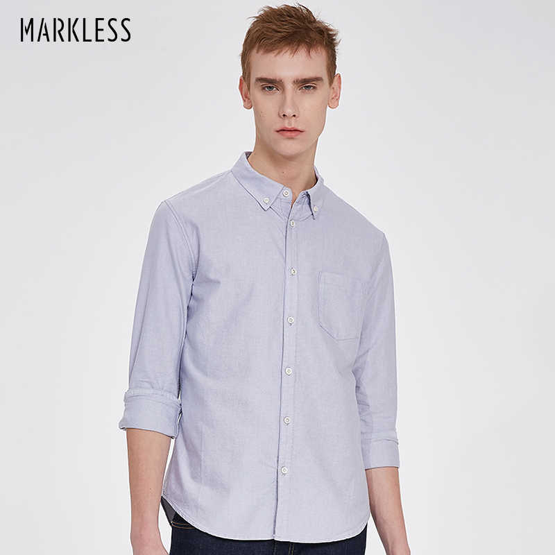 Markless Oxford Cotton Men Shirts Business Casual Solid Color camisa masculina Plus Size M-3XL Shirt chemise homme CSA7504M