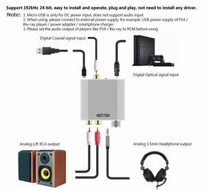 Image 2 - Reiyin 192kHz 24bit الصوت DAC Toslink محوري إلى RCA سماعة محول لجهاز ألعاب PS4 Xbox
