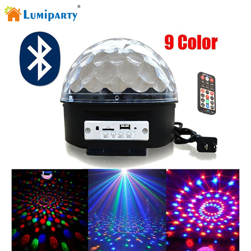 Lumiparty Upgrade 9 Color Mp3 Bluetooth Music Led RGB with Music Crystal Magic Effect Ball Light DMX Disco Dj Stage Light