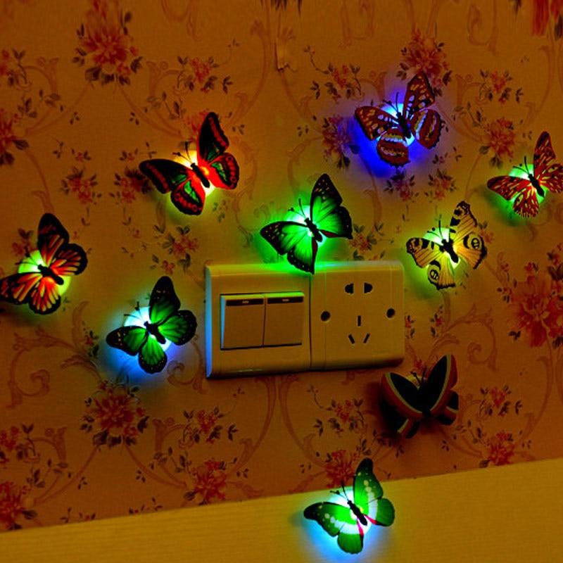 10 шт. свет Красочные бабочки Световой стрекозы светильники для дома Свадебная вечеринка Рождество украшения поставки CLH @ 8