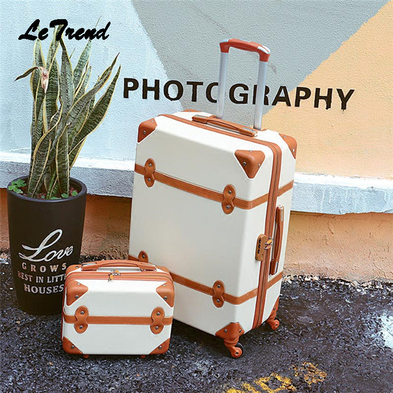 Letrend Women Suitcases Wheel Trolley Rolling Luggage Set Spinner Vintage Travel Bag Student Carry On Luggage Password Hardside