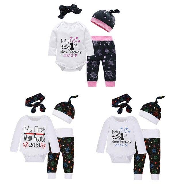 2019 Newborn Baby Girls Boys Clothes Set 4Pcs set Autumn Cute Letters Stars  Print Cotton Long Sleeve Romper Pants Headband Hat d2d2069856ca