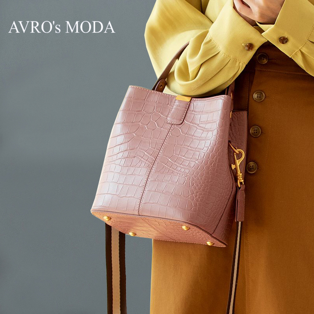 AVRO'MODA Brand luxury crocodile pattern genuine leather bucket shoulder bags for women ladies retro crossbody handbags tote bag