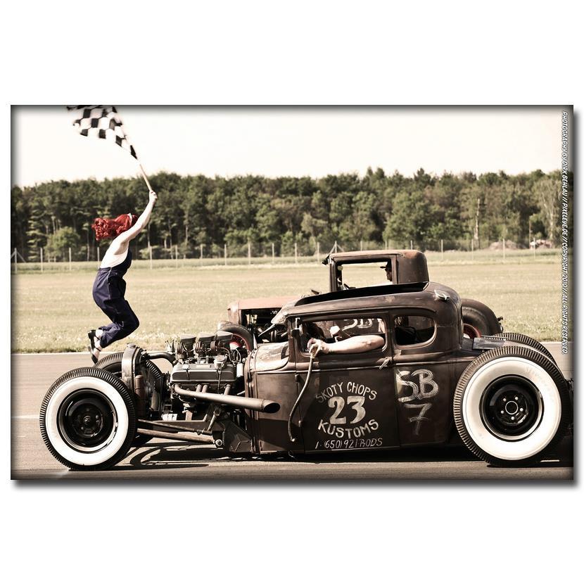 NICOLESHENTING Hot Rod Muscle Car Art Silk Fabric Poster Print ...
