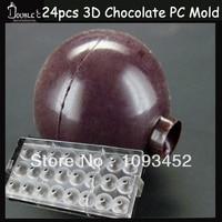 3x3cmx24cups Mine 3D Ball Chocolate Clear Polycarbonate Plastic Mold,DIY Handmade Chocolate PC Mold,Chocolate Tools,Quality