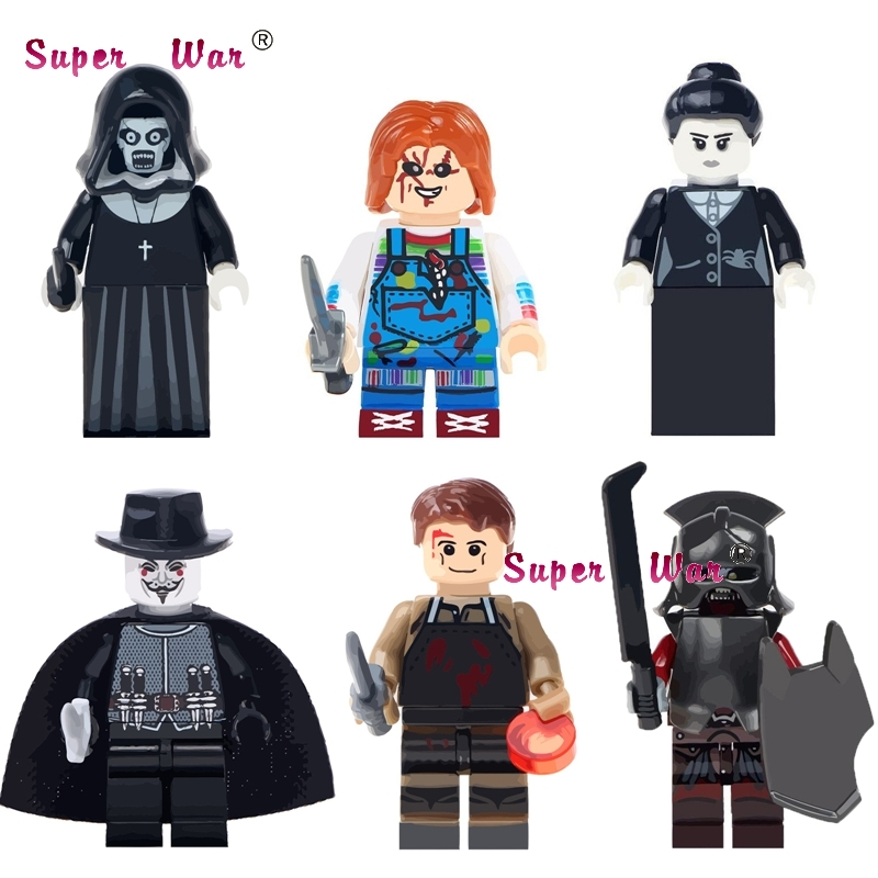 1PCS The Horror Theme Movie Halloween Nun Sinter Guy Fawkes Mask Dexter Morgan Creepy Doll Building Blocks Toys For Children