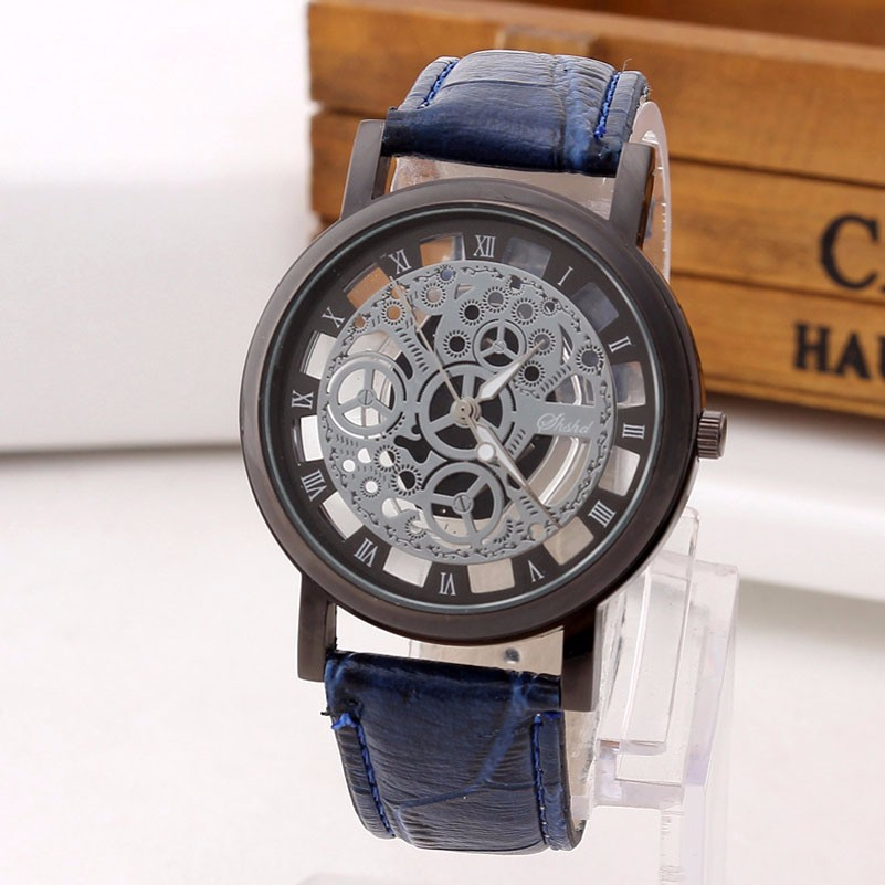 Skeleton Watch Engraving Hollow with Blue Leather Band