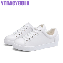 YTracyGold Women Leather Casual Low Shoes Autumn White Platform Shoes Women Youth Sweet Women's Flat Shoes Ladies Raised Shoes
