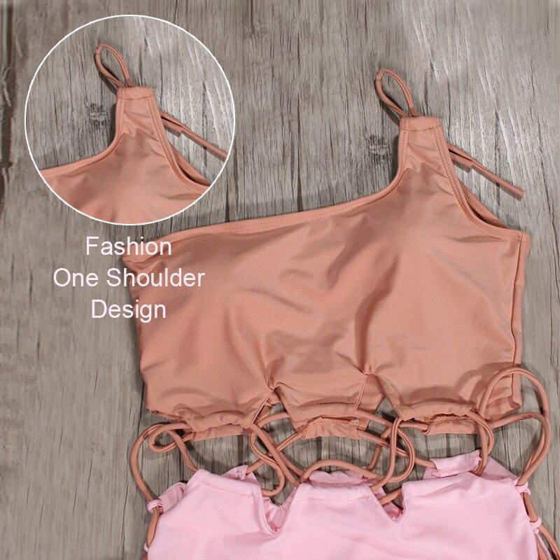 2018 California Girl One piece Swimsuit SEXY Pink One Shoulder Women Monokini Summer Swimming Padded Swimwear Push Up Beachwear