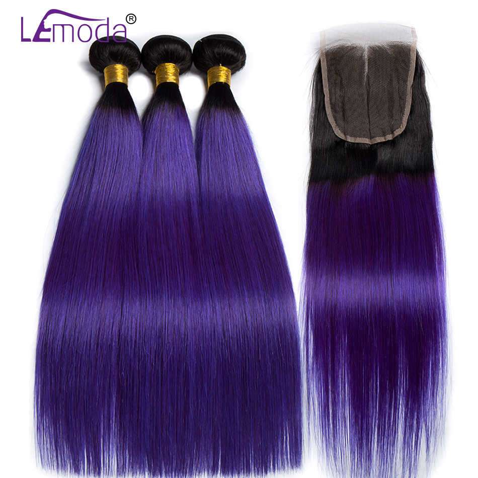 Lemoda Pre-Colored Ombre Human Hair 3 Bundles With Closure T1B/Purple 2 Tone Ombre Brazilian Straight Hair Non Remy Hair Weave
