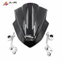 Motorcycle Windshield Windscreen W Adjustable Bracket Wind Screen Universal For Honda CBF150 VTR250 CB400 CB650F CBF1000