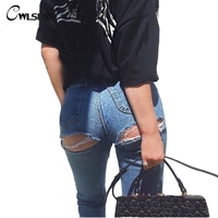 CWLSP Casual Jeans Woman Pants High Waist Bottom Ripped Holes Skinny jeans Sexy women Denim Pencil Pants jeans femme QL2916