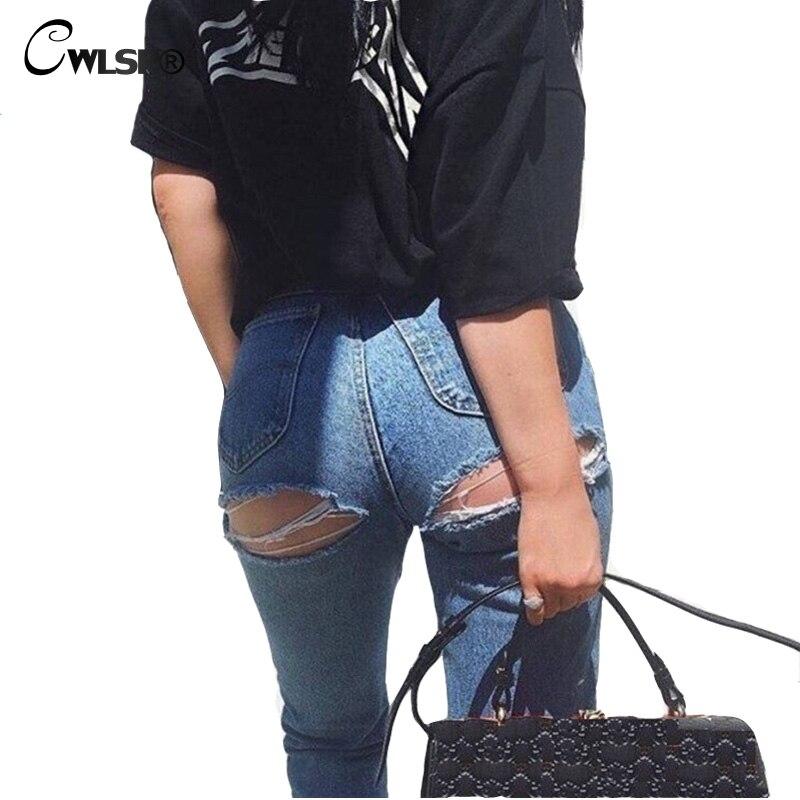 Fashion Casual Jeans Woman Pants High Waist Bottom Ripped Holes jeans Button Fly women Denim Pencil Pants jeans femme QL2916