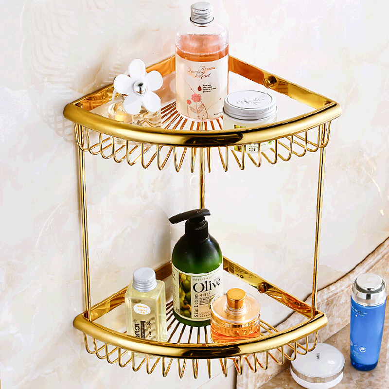 Wholesale And Retail Wall Mounted Luxury Bathroom Shelf Dual Tiers Golden Brass Corner Bathroom Shelf Storage Holder auswind 2 layer silver corner basket bathroom products luxury cosmetic storage bathroom shelf holder bathroom accessorie pf10