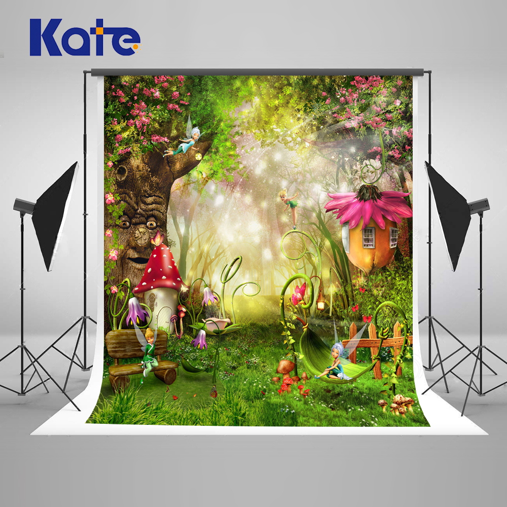 KATE Cartoon Photo Background Photography Scenic Fariy Tale Forest Background Mushroom Newborn Backdrops Green Background fairy tale background mushroom fantasy photo backdrops cartoon photocall fotografica for child photography studio kate 5x7ft