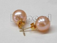 AAA Stunning 9mm Round 9mm Pink Freshwater Pearl Stud Earring 14K Gold