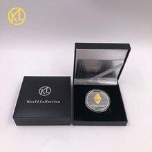 Ethereum crypto ethereum ether/bitcoin/dash moeda comemorativa americana não-moeda coleção de moedas sorte com caixa de presente agradável