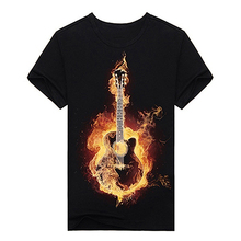 Men 3D Guitar Print Short Sleeve Top Tee Summer Casual Round Neck T-shirt