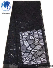 Beautifical african black lace fabric high quality sequins embroidered nigerian sample for lady ML1N790