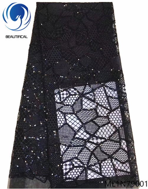 Beautifical african black lace fabric high quality sequins lace embroidered lace fabric nigerian sample lace for lady ML1N790