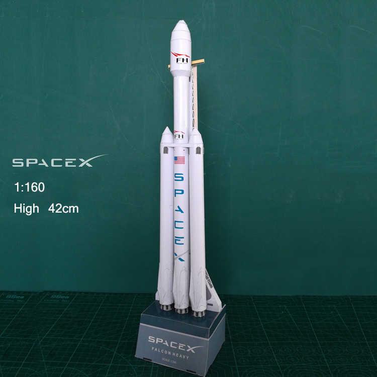 42cm 1: 160 SpaceX Falcon ağır roket 3D kağıt modeli bulmaca öğrenci el sınıf DIY uzay Papermodel Origami oyuncak
