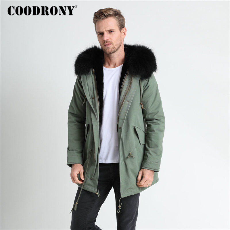 COODRONY Winter Jacket Men Thick Warm Hooded Parka Brand Jackets And Coats With Raccoon Dog Fur Collar Winter Long Coat Men 8822