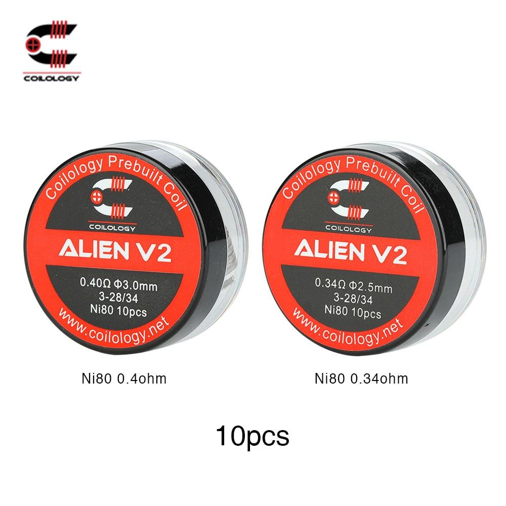 10 pcs/pack D'origine Coilology Alien Version 2 Bobine W/En Option 0.22ohm/0.34ohm/0.40ohm Résistance Ni80 Bobines E -cig Vaporisateur Bobine