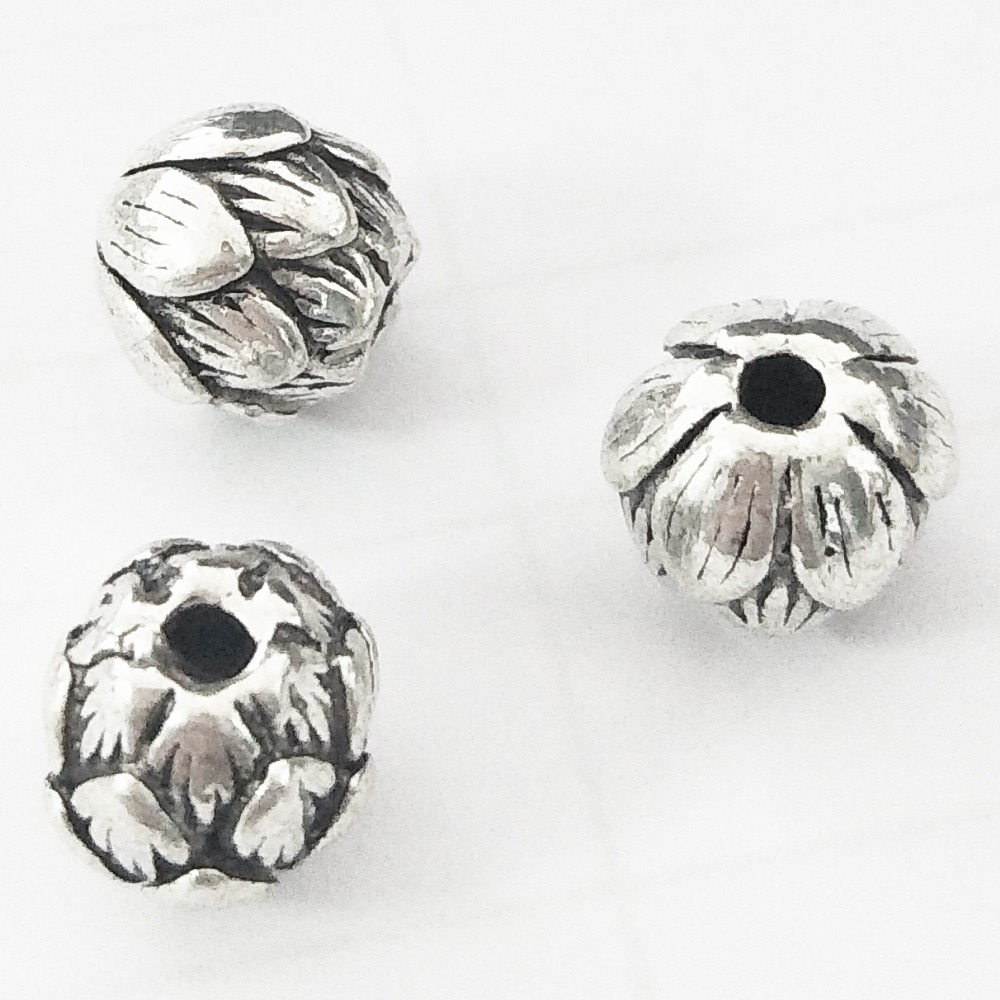 10Pcs Lot S925 Thai Silver Sterling Silver Flowers Lotus Beads 9MM DIY Charms Bracelet Necklace For