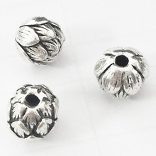 10Pcs/Lot S925 Thai Silver Sterling-Silver Flowers Lotus Beads 9MM DIY Charms Bracelet Necklace For Jewelry Making Accessories