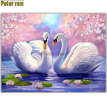 Peter ren diamond painting cross stitch D Diamond drawing Swan lotus living room round Full embroidery Peach Lake