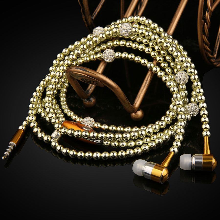 Fashion Earphones Lady Woman Beads Necklace Chain Pearl Earphone with Microphone Stereo In-ear For Xiaomi iPhone Samsung Headset m320 metal bass in ear stereo earphones headphones headset earbuds with microphone for iphone samsung xiaomi huawei htc