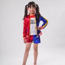 Детский костюм для девочек из 3 предметов, костюмы Харли Куинн, пальто, шорты, комплект верхней одежды, костюм для косплея на Хэллоуин, куртка+ футболка+ шорты